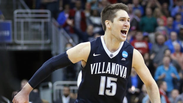 LOUISVILLE, KY - MARCH 26:  Ryan Arcidiacono #15 of the Villanova Wildcats celebrates defeating the Kansas Jayhawks 64-59 during the 2016 NCAA Men's Basketball Tournament South Regional at KFC YUM! Center on March 26, 2016 in Louisville, Kentucky.  (Photo by Andy Lyons/Getty Images)