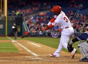 PHILADELPHIA, PA - APRIL 12: Odubel Herrera #37 of the Philadelphia Phillies hits a one run triple the sixth inning against the San Diego Padres at Citizens Bank Park on April 12, 2016 in Philadelphia, Pennsylvania. The Phillies won 3-0. (Photo by Drew Hallowell/Getty Images)