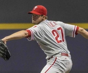 Philadelphia Phillies' Aaron Nola pitches to a Milwaukee Brewers batter during the first inning of a baseball game Friday, April 22, 2016, in Milwaukee. (AP Photo/Tom Lynn)