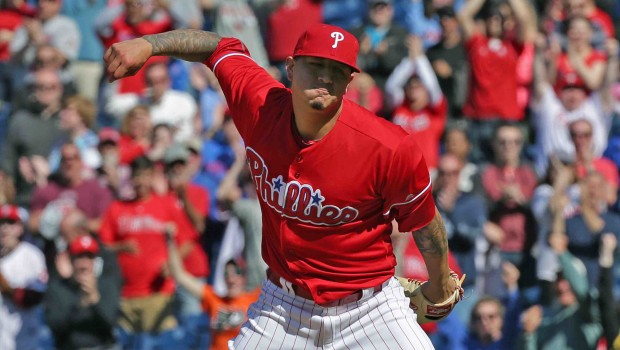 PHILADELPHIA, PA - APRIL 14: Starting pitcher Vince Velasquez #28 of the Philadelphia Phillies celebrates after his shut out victory against the San Diego Padres at Citizens Bank Park on April 14, 2016 in Philadelphia, Pennsylvania. The Phillies won 3-0. (Photo by Hunter Martin/Getty Images)