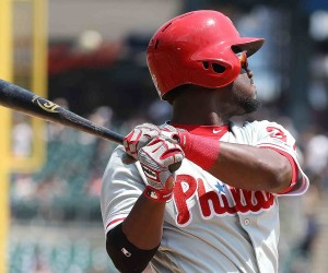 DETROIT, MI - MAY 25: Odubel Herrera #37 of the Philadelphia Phillies hits a three run home run during the fourth inning of the inter-league game against the Detroit Tigers on May 25, 2016 at Comerica Park in Detroit, Michigan. (Photo by Leon Halip/Getty Images)