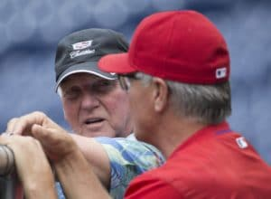 PHILADELPHIA, PA - JUNE 3: Former Philadelphia Phillies manger Charlie Manuel (L) talks to current Philadelphia Phillies manager Pete Mackanin #45 prior to the game against the Milwaukee Brewers at Citizens Bank Park on June 3, 2016 in Philadelphia, Pennsylvania. (Photo by Mitchell Leff/Getty Images)