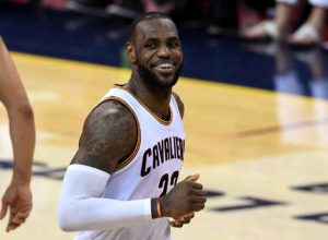 CLEVELAND, OH - JUNE 16:  LeBron James #23 of the Cleveland Cavaliers reacts during the second half against the Golden State Warriors in Game 6 of the 2016 NBA Finals at Quicken Loans Arena on June 16, 2016 in Cleveland, Ohio. NOTE TO USER: User expressly acknowledges and agrees that, by downloading and or using this photograph, User is consenting to the terms and conditions of the Getty Images License Agreement.  (Photo by Jason Miller/Getty Images)