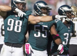 PHILADELPHIA, PA - OCTOBER 11: Connor Barwin #98, Brandon Graham #55, and Byron Maxwell #31 of the Philadelphia Eagles react after the Eagles recovered a fumble in the third quarter against the New Orleans Saints on October 11, 2015 at Lincoln Financial field in Philadelphia, Pennsylvania. The Eagles defeated the Saints 39-17. (Photo by Mitchell Leff/Getty Images)