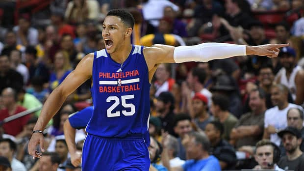 Jul 9, 2016; Las Vegas, NV, USA; Philadelphia 76ers forward Ben Simmons (25) yells from the court during an NBA Summer League game against the Los Angeles Lakers at Thomas & Mack Center. Los Angeles won the game 70-69. Mandatory Credit: Stephen R. Sylvanie-USA TODAY Sports