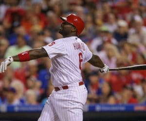PHILADELPHIA, PA - JULY 16: Ryan Howard #6 of the Philadelphia Phillies hits a fly ball in the seventh inning during a game against the New York Mets at Citizens Bank Park on July 16, 2016 in Philadelphia, Pennsylvania. The Phillies won 4-2. (Photo by Hunter Martin/Getty Images)