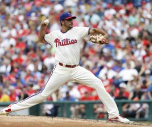 Philadelphia Phillies' Zach Eflin pitches during the third inning of a baseball game against the New York Mets, Sunday, July 17, 2016, in Philadelphia. (AP Photo/Matt Slocum)