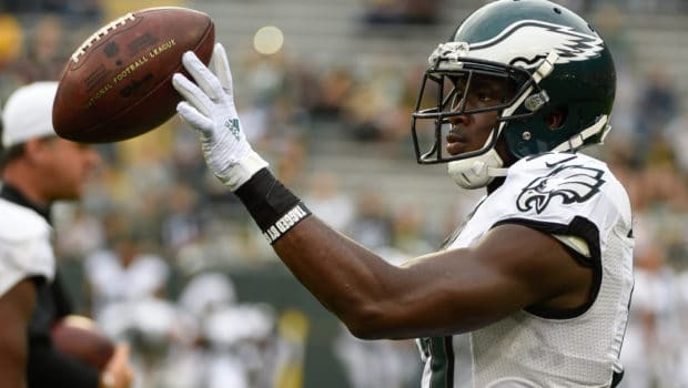 Aug 29, 2015; Green Bay, WI, USA; Philadelphia Eagles wide receiver Nelson Agholor (17) warms up before game against the Green Bay Packers at Lambeau Field. Mandatory Credit: Benny Sieu-USA TODAY Sports