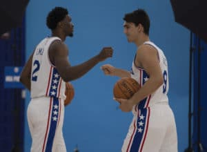 CAMDEN, NJ - SEPTEMBER 26: Joel Embiid #21 and Dario Saric #9 of the Philadelphia 76ers participate in media day on September 26, 2016 in Camden, New Jersey. NOTE TO USER: User expressly acknowledges and agrees that, by downloading and or using this photograph, User is consenting to the terms and conditions of the Getty Images License Agreement. (Photo by Mitchell Leff/Getty Images)