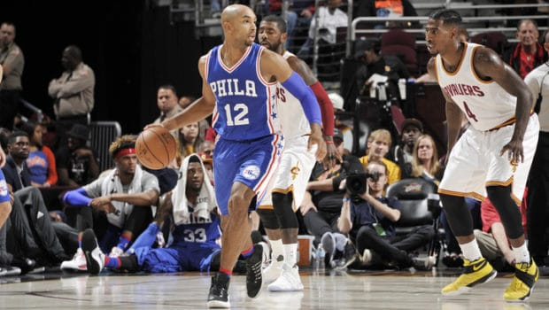 CLEVELAND, OH - OCTOBER 8: Gerald Henderson #12 of the Philadelphia 76ers handles the ball against the Cleveland Cavaliers during a preseason game on October 8, 2016 at Quicken Loans Arena in Cleveland, Ohio. NOTE TO USER: User expressly acknowledges and agrees that, by downloading and or using this Photograph, user is consenting to the terms and conditions of the Getty Images License Agreement. Mandatory Copyright Notice: Copyright 2016 NBAE (Photo by David Liam Kyle/NBAE via Getty Images)