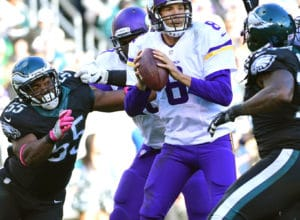Oct 23, 2016; Philadelphia, PA, USA; Minnesota Vikings quarterback Sam Bradford (8) throws a pass under pressure by Philadelphia Eagles defensive end Brandon Graham (55) defense during the fourth quarter at Lincoln Financial Field. The Eagles defeated the Vikings, 21-10. Mandatory Credit: Eric Hartline-USA TODAY Sports