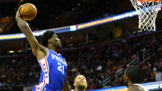 Oct 8, 2016; Cleveland, OH, USA; Philadelphia 76ers center Joel Embiid (21) dunks the ball against the Cleveland Cavaliers in the first half at Quicken Loans Arena. Mandatory Credit: Aaron Doster-USA TODAY Sports