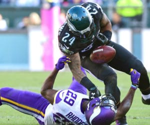 Oct 23, 2016; Philadelphia, PA, USA; Philadelphia Eagles running back Ryan Mathews (24) is stripped of the ball by Minnesota Vikings cornerback Xavier Rhodes (29) during the fourth quarter at Lincoln Financial Field. The Eagles defeated the Vikings, 21-10. Mandatory Credit: Eric Hartline-USA TODAY Sports