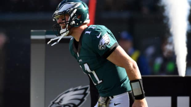 Nov 13, 2016; Philadelphia, PA, USA; Philadelphia Eagles quarterback Carson Wentz (11) is introduced before the start of the game against the Atlanta Falcons at Lincoln Financial Field. Philadelphia defeated Atlanta 24-15.  Mandatory Credit: James Lang-USA TODAY Sports