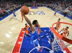 PHILADELPHIA,PA - NOVEMBER 19:  Joel Embiid #21 of the Philadelphia 76ers with the dunk against the Phoenix Suns during a game at the Wells Fargo Center on November 19, 2016 in Philadelphia, Pennsylvania NOTE TO USER: User expressly acknowledges and agrees that, by downloading and/or using this Photograph, user is consenting to the terms and conditions of the Getty Images License Agreement. Mandatory Copyright Notice: Copyright 2016 NBAE (Photo by Jesse D. Garrabrant/NBAE via Getty Images)