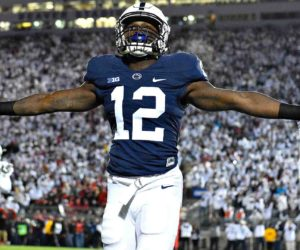 Oct 22, 2016; University Park, PA, USA; Penn State Nittany Lions wide receiver Chris Godwin (12) reacts following his touchdown catch against the Ohio State Buckeyes during the second quarter at Beaver Stadium. Mandatory Credit: Rich Barnes-USA TODAY Sports