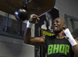 Bernard Hopkins trains during a media workout in Philadelphia, Monday, Dec. 5, 2016. Hopkins is scheduled to fight Joe Smith Jr., in a light heavyweight boxing match on Dec. 17 at the Forum, in Inglewood, Calif. (AP Photo/Matt Rourke) ORG XMIT: PAMR115