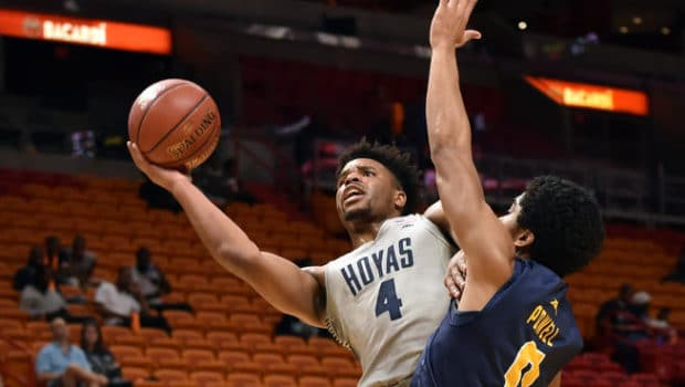 Dec 10, 2016; Miami, FL, USA; Georgetown Hoyas guard Jagan Mosely (4) drives to the basket as La Salle Explorers guard Pookie Powell (0) applies pressure during the first half at American Airlines Arena. Mandatory Credit: Steve Mitchell-USA TODAY Sports