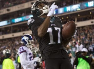 Dec 22, 2016; Philadelphia, PA, USA; Philadelphia Eagles wide receiver Nelson Agholor (17) reacts in front of New York Giants cornerback Eli Apple (24) after his touchdown reception in the first half at Lincoln Financial Field. Mandatory Credit: Bill Streicher-USA TODAY Sports
