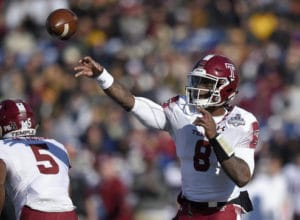 Temple quarterback Phillip Walker (8) passes during the first half of the American Athletic Conference championship NCAA college football game against Navy, Saturday, Dec. 3, 2016, in Annapolis, Md. (AP Photo/Nick Wass)