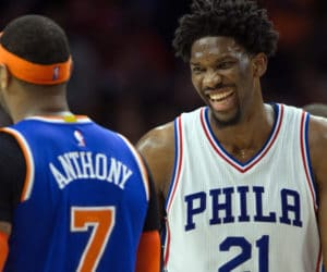 Jan 11, 2017; Philadelphia, PA, USA; Philadelphia 76ers center Joel Embiid (21) and New York Knicks forward Carmelo Anthony (7) laugh together after a play during the second half at Wells Fargo Center. The Philadelphia 76ers won 98-97. Mandatory Credit: Bill Streicher-USA TODAY Sports ORG XMIT: USATSI-324516 ORIG FILE ID:  20170111_ram_sq4_144.JPG
