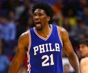 Dec 23, 2016; Phoenix, AZ, USA; Philadelphia 76ers center Joel Embiid (21) reacts against the Phoenix Suns at Talking Stick Resort Arena. The Suns defeated the 76ers 123-116. Mandatory Credit: Mark J. Rebilas-USA TODAY Sports