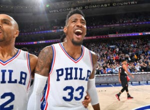 PHILADELPHIA, PA - JANUARY 20:  Robert Covington #33 of the Philadelphia 76ers celebrates after hitting the game winner against the Portland Trail Blazers on January 20, 2017 at the Wells Fargo Center in Philadelphia, Pennsylvania. NOTE TO USER: User expressly acknowledges and agrees that, by downloading and/or using this photograph, user is consenting to the terms and conditions of the Getty Images License Agreement. Mandatory Copyright Notice: Copyright 2017 NBAE (Photo by Jesse D. Garrabrant/NBAE via Getty Images)