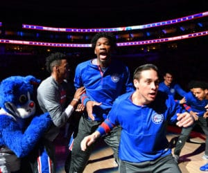 PHILADELPHIA, PA - JANUARY 13: Joel Embiid #21 of the Philadelphia 76ers gets amped up with his team before the game against the Charlotte Hornets on January 13, 2017 at Wells Fargo Center in Philadelphia, Pennsylvania. NOTE TO USER: User expressly acknowledges and agrees that, by downloading and or using this photograph, User is consenting to the terms and conditions of the Getty Images License Agreement. Mandatory Copyright Notice: Copyright 2017 NBAE (Photo by Jesse D. Garrabrant/NBAE via Getty Images)