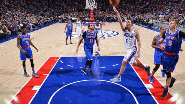 PHILADELPHIA, PA - JANUARY 11:  T.J. McConnell #1 of the Philadelphia 76ers goes to the basket against the New York Knicks on January 11, 2017 in Philadelphia, Pennsylvania NOTE TO USER: User expressly acknowledges and agrees that, by downloading and/or using this Photograph, user is consenting to the terms and conditions of the Getty Images License Agreement. Mandatory Copyright Notice: Copyright 2017 NBAE (Photo by Jesse D. Garrabrant/NBAE via Getty Images)