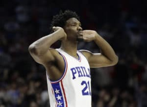 Philadelphia 76ers' Joel Embiid in action during an NBA basketball game against the Houston Rockets, Friday, Jan. 27, 2017, in Philadelphia. (AP Photo/Matt Slocum) ORG XMIT: OTKSM682