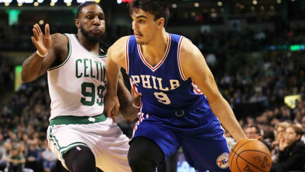 BOSTON, MA - JANUARY 6: Dario Saric #9 of the Philadelphia 76ers drives against Jae Crowder #99 of the Boston Celtics during the first half at TD Garden on January 6, 2017 in Boston, Massachusetts. NOTE TO USER: User expressly acknowledges and agrees that , by downloading and or using this photograph, User is consenting to the terms and conditions of the Getty Images License Agreement. (Photo by Maddie Meyer/Getty Images)