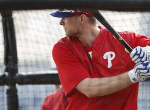 Phillies' Michael Saunders waits for a pitch during batting practice  at Phillies Spring Training in Clearwater, Fl on February 15, 2017. DAVID MAIALETTI / Staff Photographer