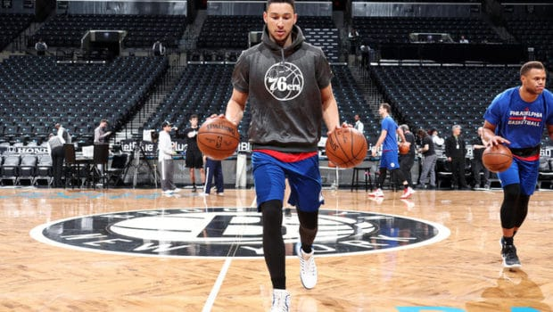 BROOKLYN, NY - MARCH 28: Ben Simmons #25 of the Philadelphia 76ers warms up before the game against the Brooklyn Nets on March 28, 2017 at Barclays Center in Brooklyn, New York. NOTE TO USER: User expressly acknowledges and agrees that, by downloading and or using this Photograph, user is consenting to the terms and conditions of the Getty Images License Agreement. Mandatory Copyright Notice: Copyright 2017 NBAE (Photo by Nathaniel S. Butler/NBAE via Getty Images)