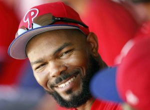Feb 25, 2017; Clearwater, FL, USA; Philadelphia Phillies left fielder Howie Kendrick (47) smiles in the dugout during the fifth inning against the New York Yankees at Spectrum Field. Mandatory Credit: Kim Klement-USA TODAY Sports