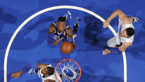 ORLANDO, FL - MARCH 20: Robert Covington #33 of the Philadelphia 76ers shoots the ball against the Orlando Magic during the game on March 20, 2017 at Amway Center in Orlando, Florida. NOTE TO USER: User expressly acknowledges and agrees that, by downloading and or using this photograph, User is consenting to the terms and conditions of the Getty Images License Agreement. Mandatory Copyright Notice: Copyright 2017 NBAE (Photo by Fernando Medina/NBAE via Getty Images)