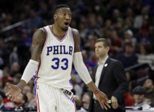 Philadelphia 76ers' Robert Covington reacts after being charged with a foul during the second half of an NBA basketball game against the Boston Celtics, Sunday, March 19, 2017, in Philadelphia. Philadelphia won 105-99. (AP Photo/Matt Slocum)