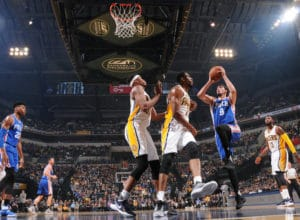 INDIANAPOLIS, IN - MARCH 26:  Dario Saric #9 of the Philadelphia 76ers goes to the basket against the Indiana Pacers on March 26, 2017 at Bankers Life Fieldhouse in Indianapolis, Indiana. NOTE TO USER: User expressly acknowledges and agrees that, by downloading and or using this Photograph, user is consenting to the terms and conditions of the Getty Images License Agreement. Mandatory Copyright Notice: Copyright 2017 NBAE (Photo by Ron Hoskins/NBAE via Getty Images)