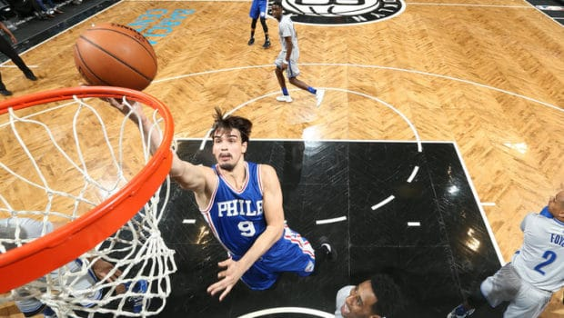 BROOKLYN, NY - MARCH 28: Dario Saric #9 of the Philadelphia 76ers shoots a lay up during the game against the Brooklyn Nets on March 28, 2017 at Barclays Center in Brooklyn, New York. NOTE TO USER: User expressly acknowledges and agrees that, by downloading and or using this Photograph, user is consenting to the terms and conditions of the Getty Images License Agreement. Mandatory Copyright Notice: Copyright 2017 NBAE (Photo by Nathaniel S. Butler/NBAE via Getty Images)