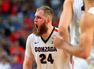 GLENDALE, AZ - APRIL 01: Przemek Karnowski #24 of the Gonzaga Bulldogs reacts in the second half against the South Carolina Gamecocks during the 2017 NCAA Men's Final Four Semifinal at University of Phoenix Stadium on April 1, 2017 in Glendale, Arizona.  (Photo by Tom Pennington/Getty Images)
